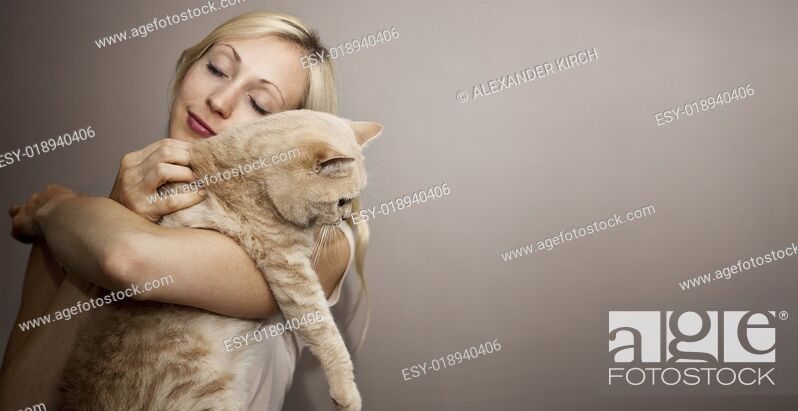 Stock Photo: Young Woman with Cat.