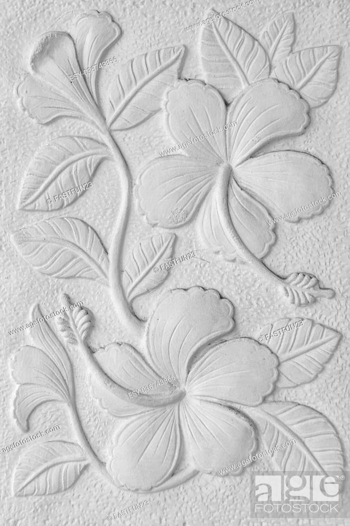 Stock Photo: White stone inscription of a China rose, Hawaiian hibiscus, and shoe flower background.
