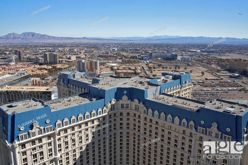 Stock Photo: A view of Paris Las Vegas's hotel tower, from the top of the hotel's Eiffel Tower replica  Las Vegas, Nevada, United States.