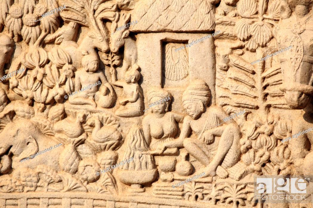 Stock Photo: Close-up of north gateway of stupa 1 Inner view , Sanchi near Bhopal , Madhya Pradesh , India.