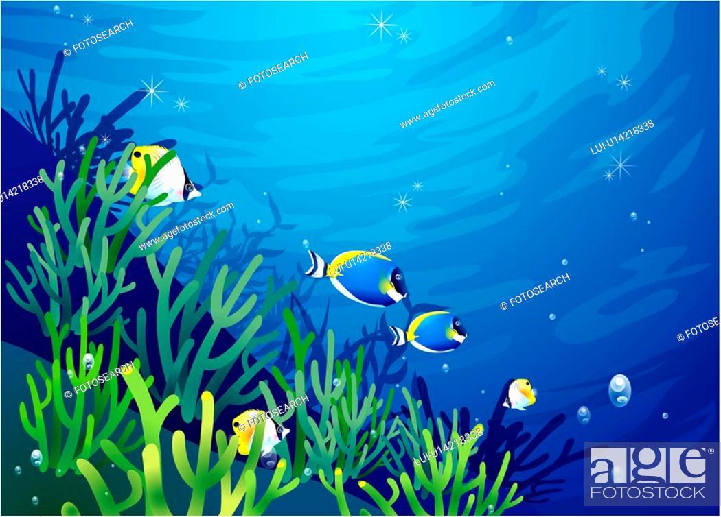 Stock Photo: multicolored, sea, underwater, undersea, ocean, background.