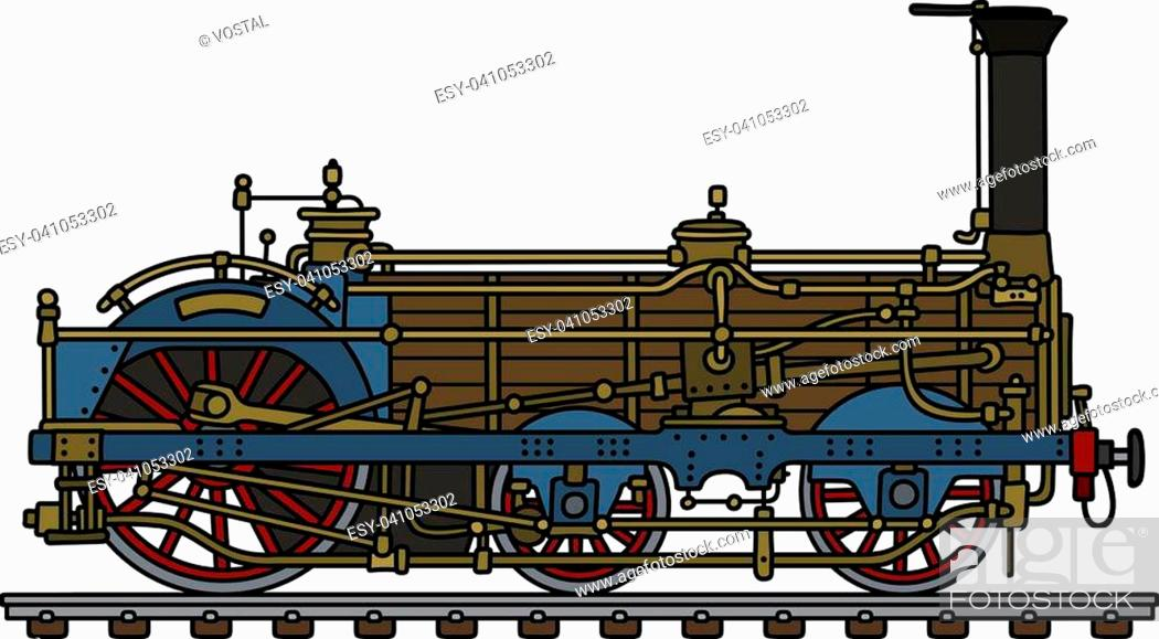 Hand drawing of a vintage steam locomotive, Stock Vector