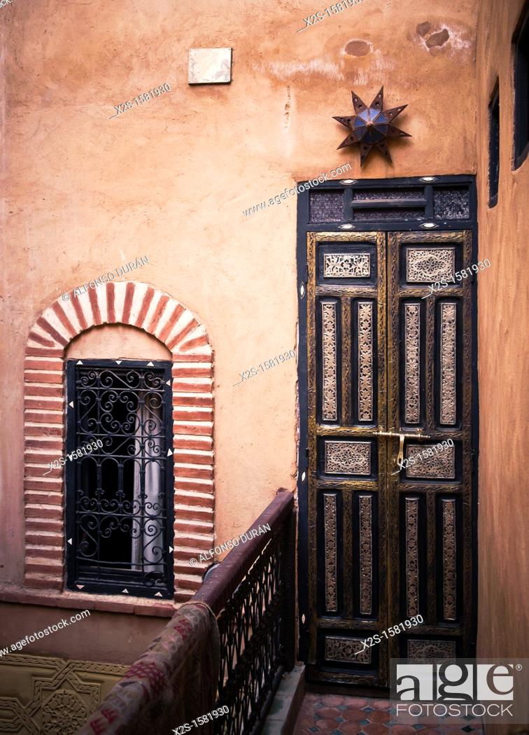 Stock Photo: door and window riad, Marrakech, Morocco.