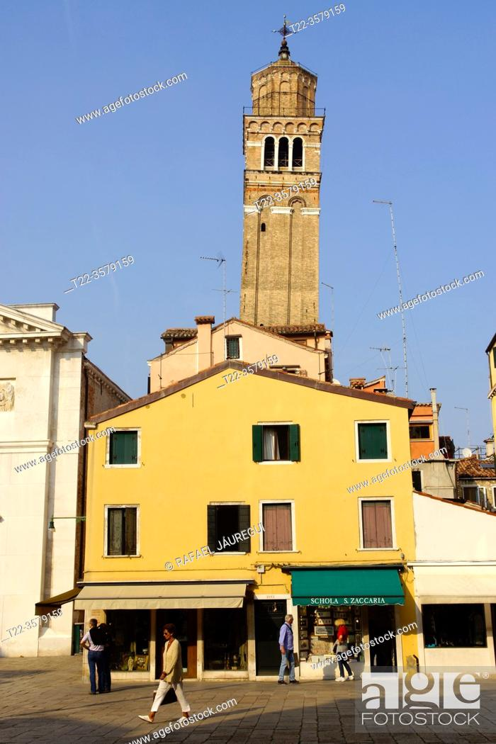 Stock Photo: Venice (Italy). Bell tower of the church of San Maurizio in the city of Venice.