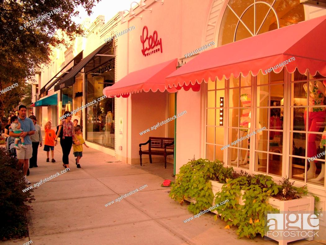 Stock Photo Winter Park Fl Florida Orlando Downtown Avenue Upscale Boutiques Galleries Restaurants