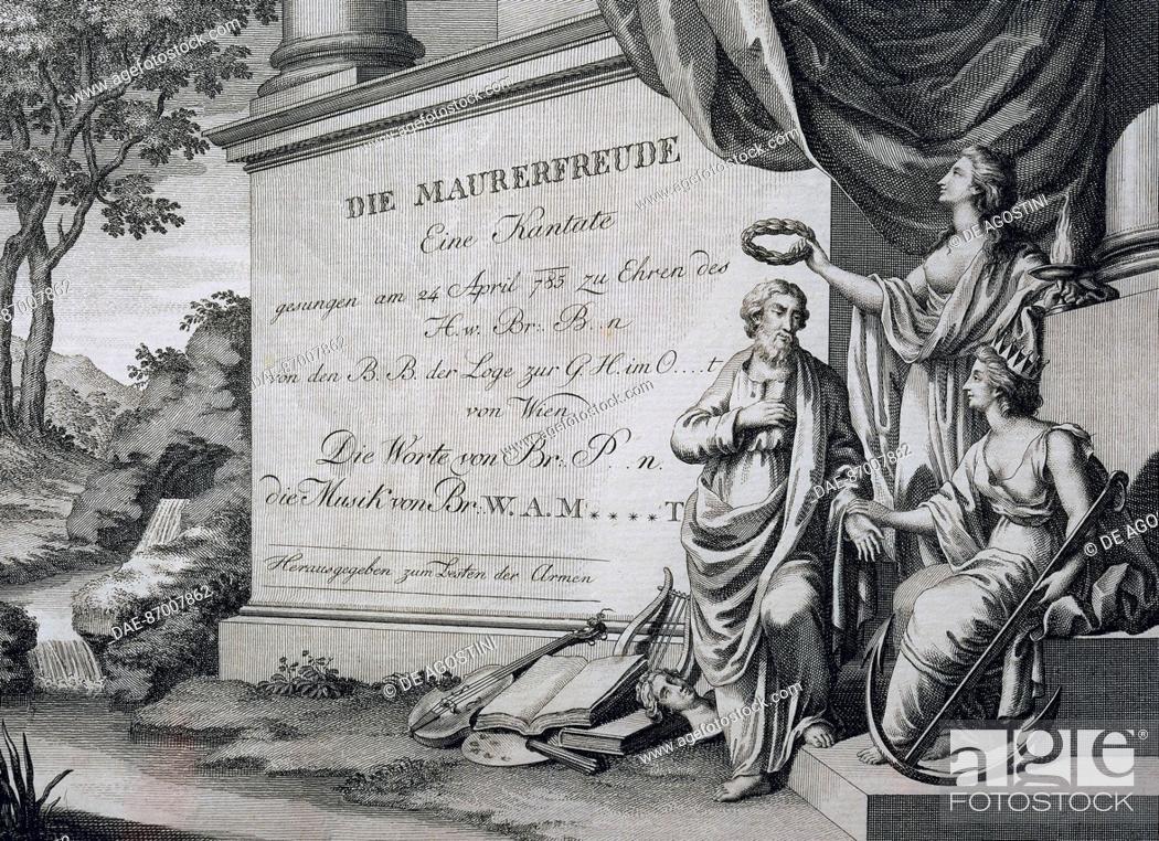 Stock Photo: Title page of the cantata Die Maurerfreude (Masonic Joy), by Wolfgang Amadeus Mozart (1756-1791).  Vienna, Historisches Museum Der Stadt Wien (History Museum).