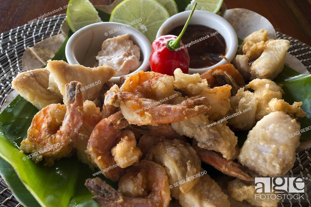 Photo de stock: Typical fish food in The Turtle Inn Francis Ford Cappola s beach front hotel Placencia Belize Central America.