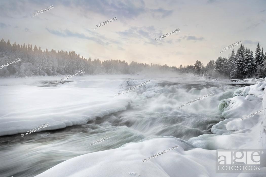 Stock Photo: Storforsen, Swedish Lapland, Sweden, Europe.