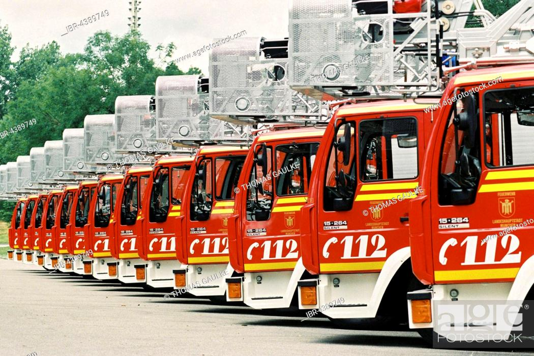 Stock Photo: Fire engines lined up, Munich fire brigade, Bavaria, Germany.
