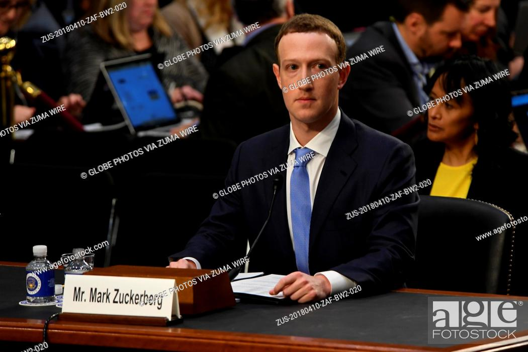 Stock Photo: April 10, 2018 - Washington, District of Columbia, U.S. - 4/3/18- The White House- Washington DC..Facebook Chief Executive Mark Zuckerberg testifies on  before.