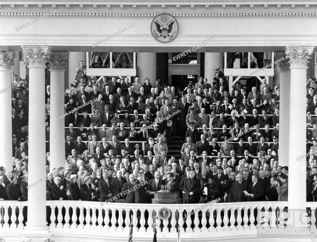 Stock Photo: Richard Nixon sworn in as Vice President. Jan. 20, 1953. Senator William Knowland of California administered the Oath of Office. - (BSLOC-2014-16-19).