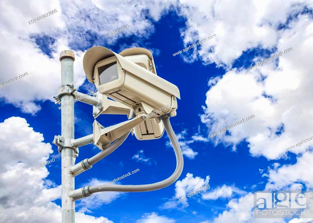 Stock Photo: cliping path of safety vdo and camera with nice sky background.