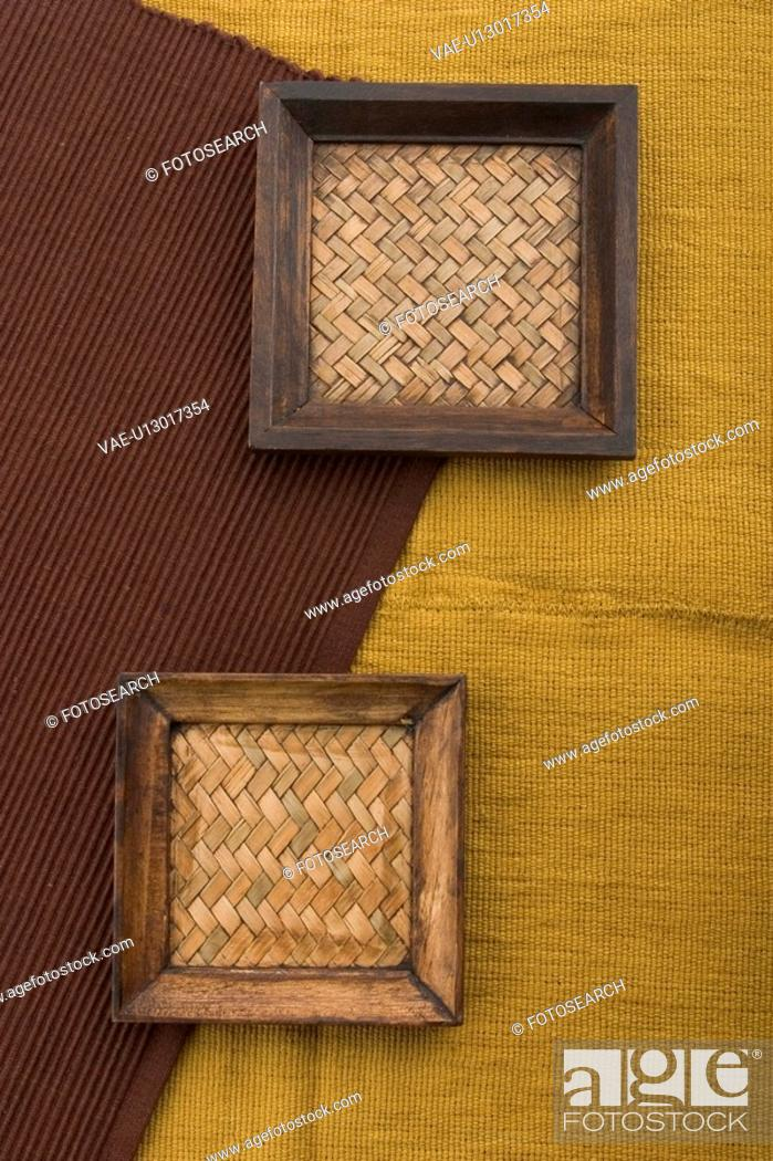 Stock Photo: Cloth, Background, Carpet, Cane, Brown, Appearance.