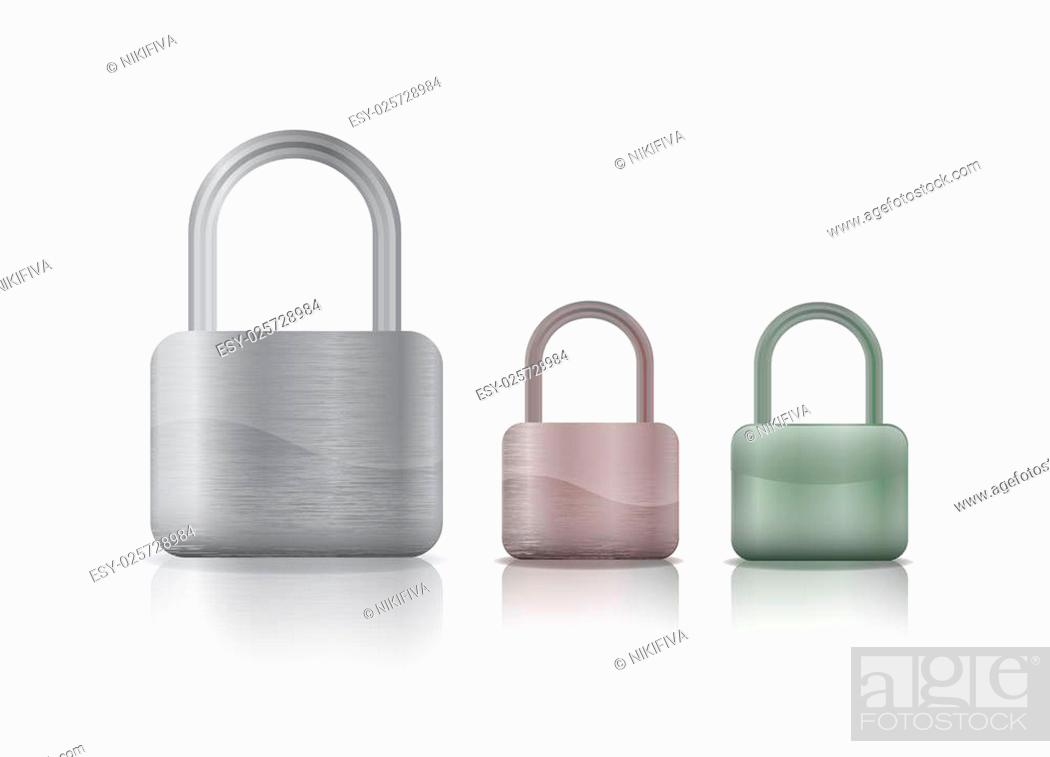 Photo de stock: colored metal securite locked and unlocked padlockers isolated on white background.