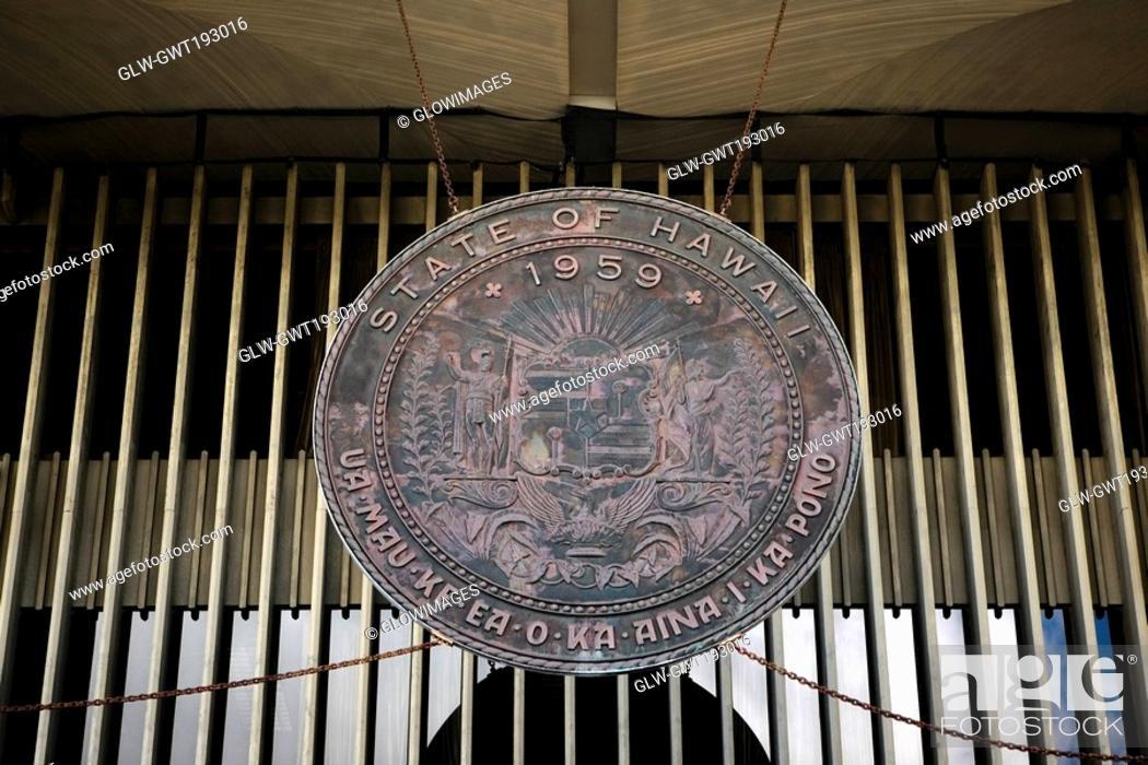 Stock Photo: Close-up of a shield of Hawaiian state, Hawaii State Capitol, Honolulu, Oahu, Hawaii Islands, USA.
