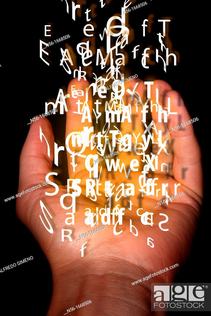 Photo de stock: hand holding words.