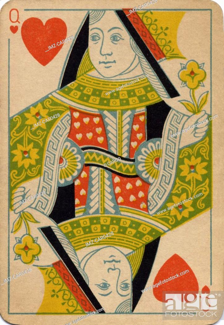 Stock Photo: Queen of Hearts vintage playing card.