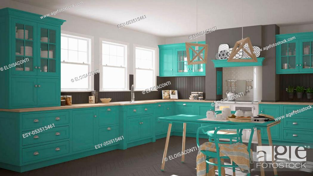 Stock Photo: Scandinavian classic kitchen with wooden and turquoise details, minimalistic interior design.