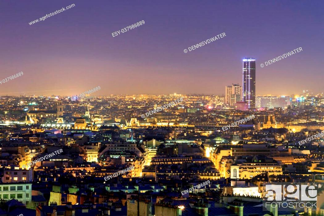 Beautiful Paris Night Cityscape Seen From Montmartre With The Tour Montparnasse Skyscraper At Night Stock Photo Picture And Low Budget Royalty Free Image Pic Esy 037986889 Agefotostock