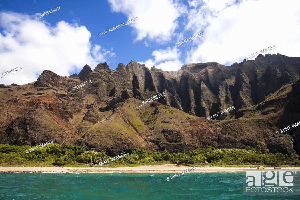 Stock Photo: Na Pali Cliffs seen from the Pacific Ocean, Kauai, Hawaii.