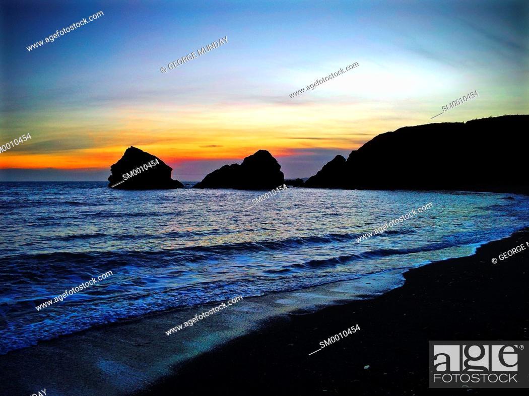 Stock Photo: Seascape at Ballydowane Cove, Near Bunmahon, The Copper Coast, County Waterford, Ireland.