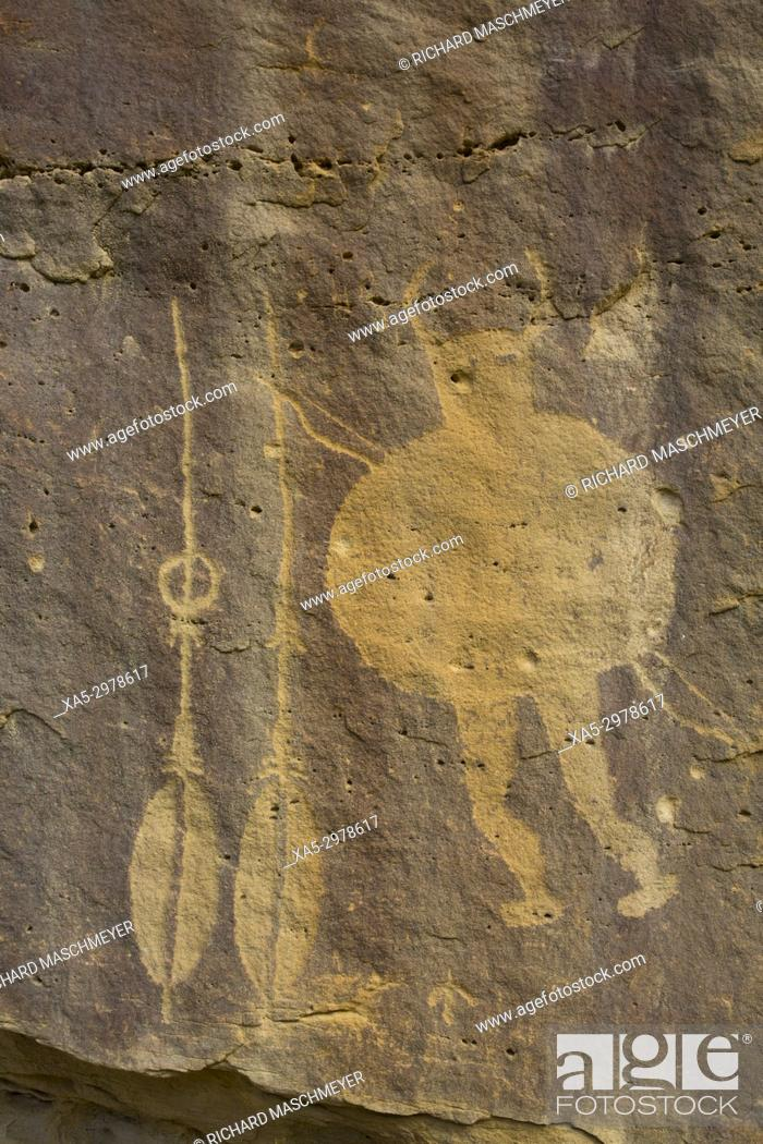 Stock Photo: Warrior Panel, Petroglyph, up to 1,500 years old, Crow Canyon, New Mexico, USA.