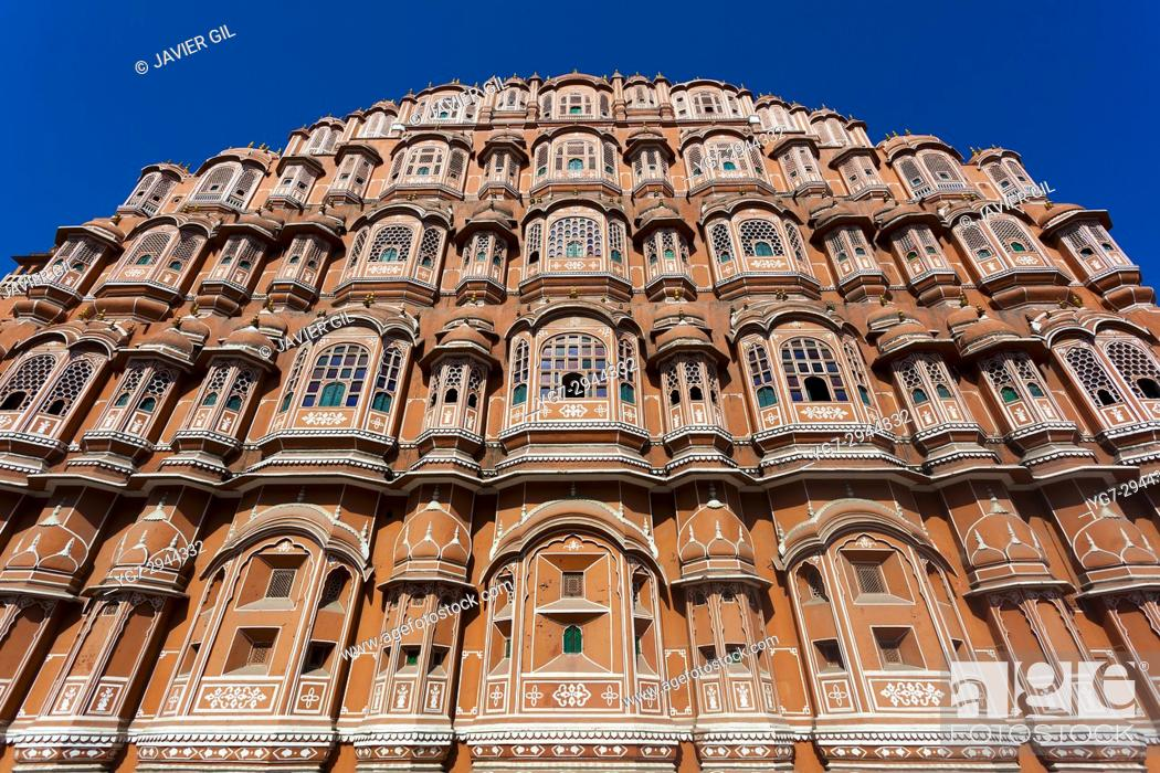 Stock Photo: Hawa Mahal, Palace of the Winds, Jaipur, Rajasthan, India.