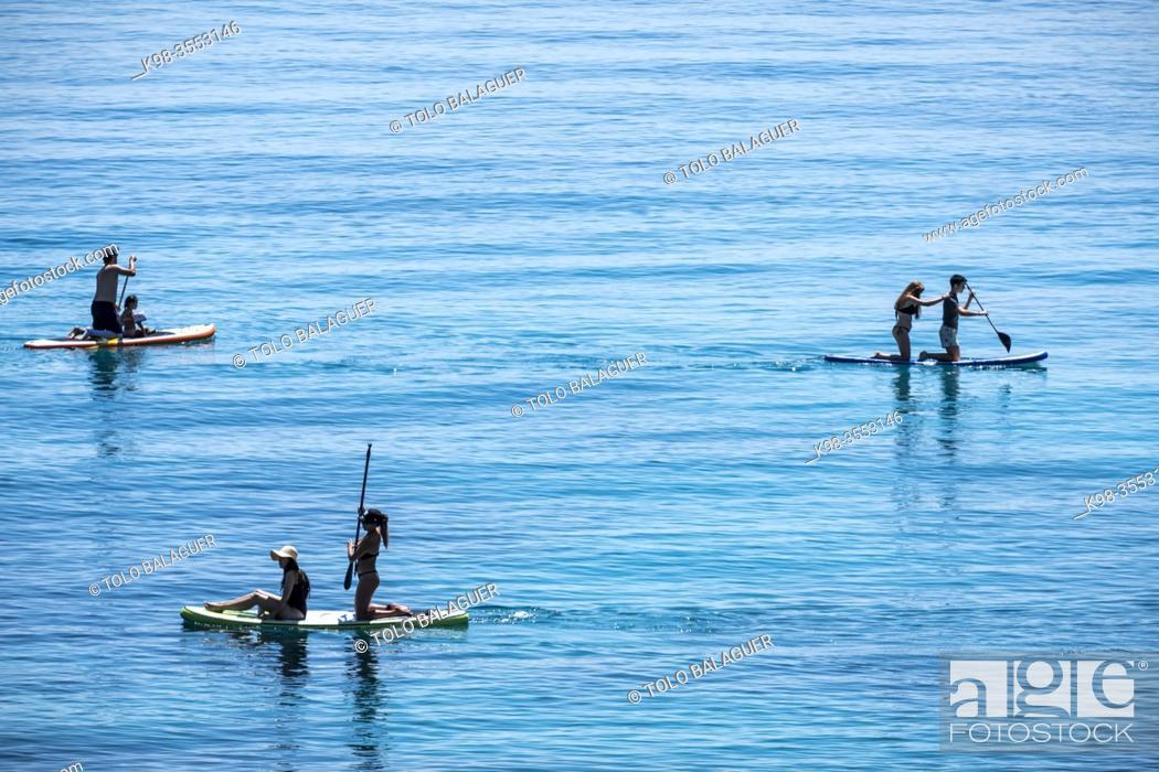 Stock Photo: Paddle surf in Portals Vells, Calvia, Mallorca, Balearic Islands, Spain.