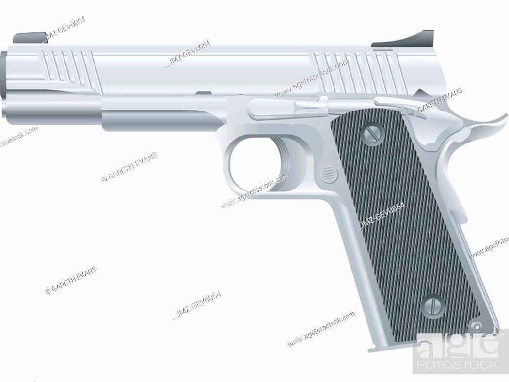 Stock Photo: An illustration of a semi automatic pistol M1911.