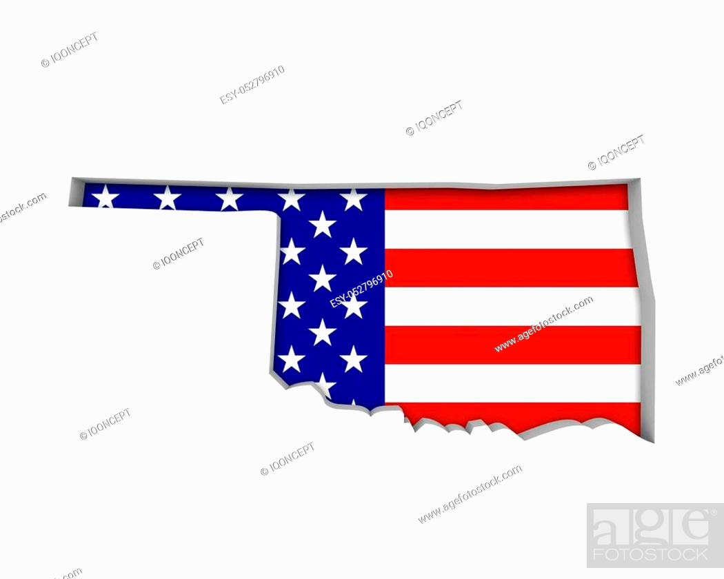 Imagen: Oklahoma OK USA Flag Stars Stripes Map 3d Illustration.
