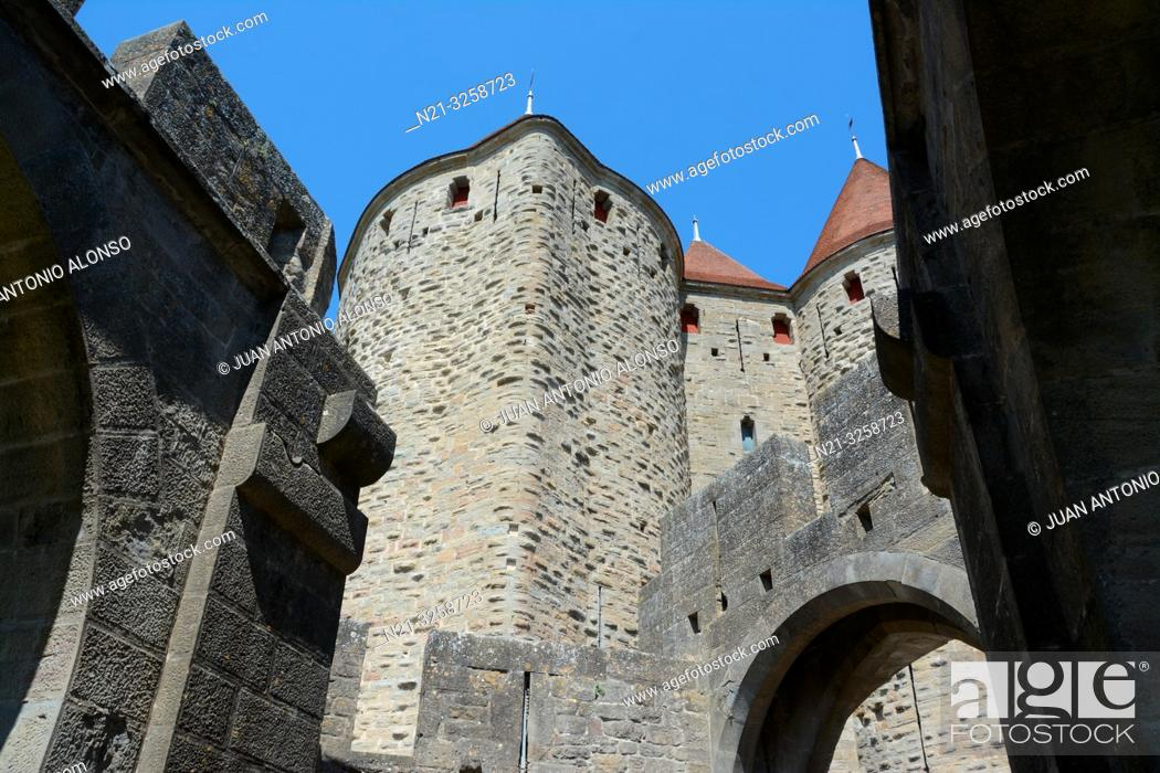 Stock Photo: Partial view of the towers that compose the Narbonne Gate to the fortified city of Carcassonne. Languedoc - Roussillon, France.