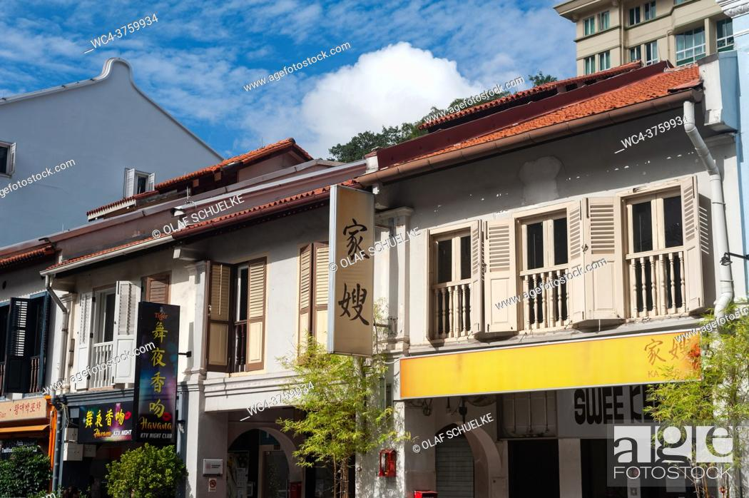 Stock Photo: Singapore, Republic of Singapore, Asia - Traditional shophouses along Amoy Street in the historic city district of Chinatown.