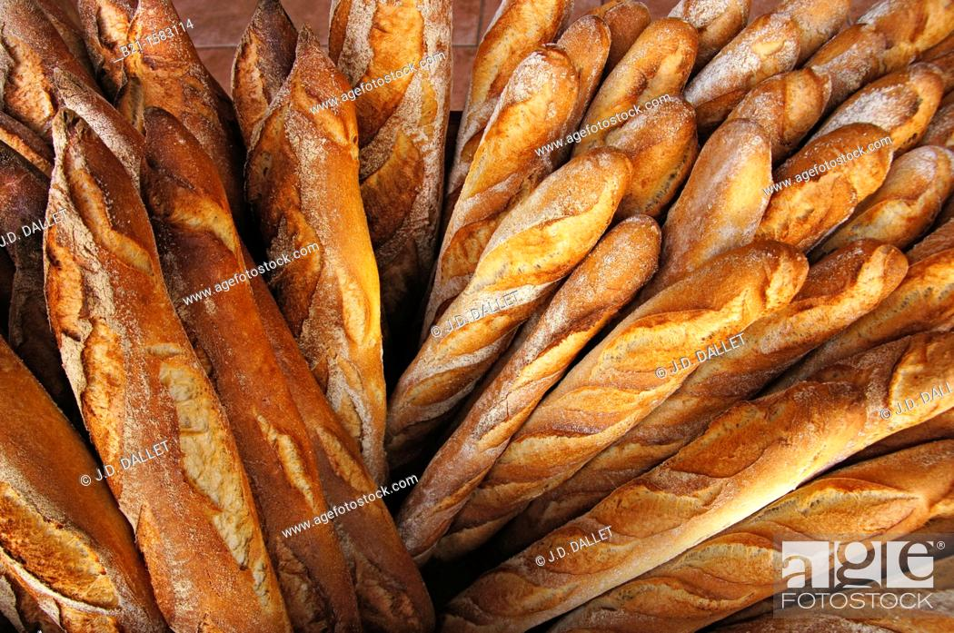 Stock Photo: France-Aquitaine-Dordogne- 'Baguette'  french breads at Montpon Menesterol.