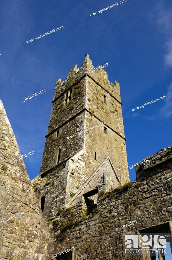 Stock Photo: Ross Errilly Franciscan Friary, near Headford, County Galway, Connacht, Republic of Ireland, Europe.