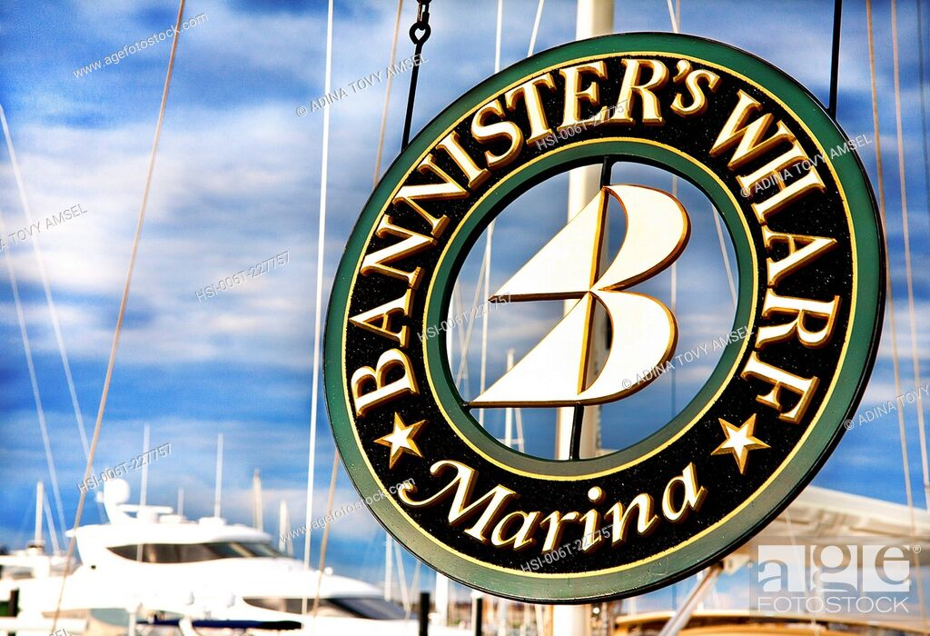 Stock Photo: United States of America. New England. Rhode Island. Newport. Bannister's Wharf Marina sign.