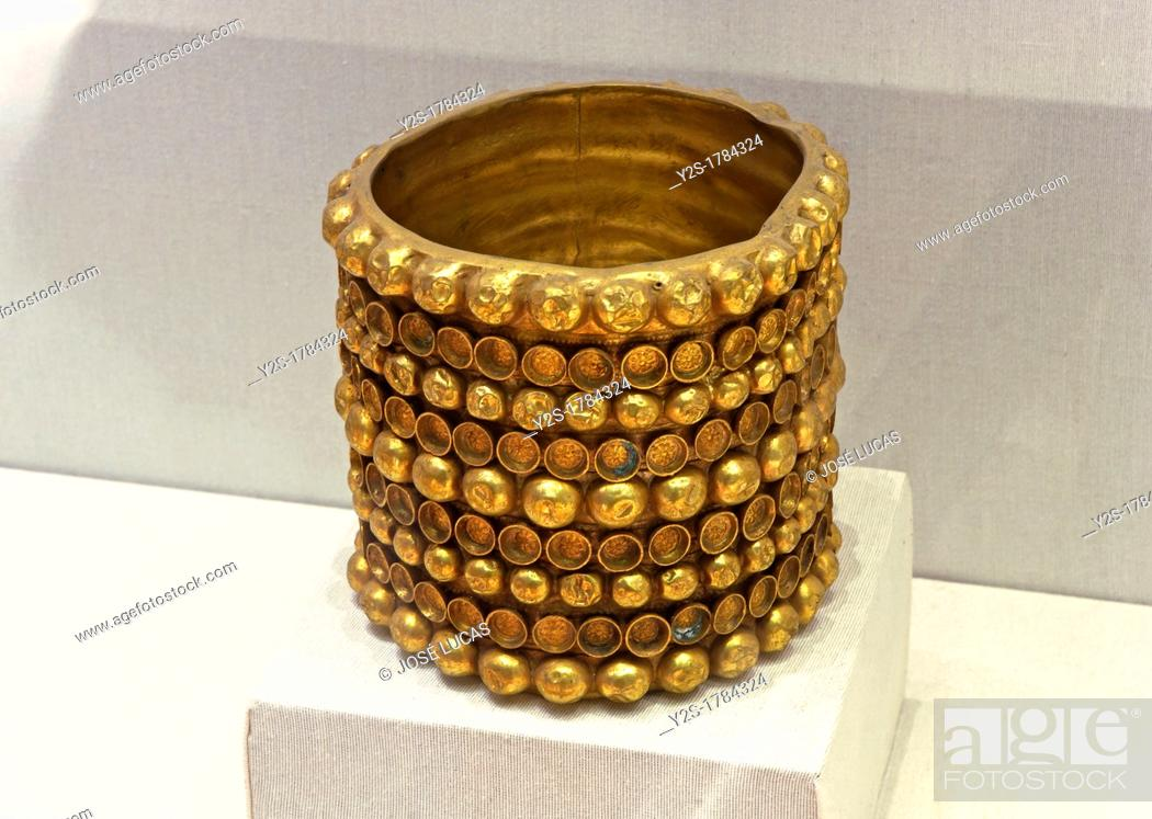 Stock Photo: The Carambolo treasury, Bracelet, 8th century BC, Exhibition archaeological at the City Hall, Seville, Spain.