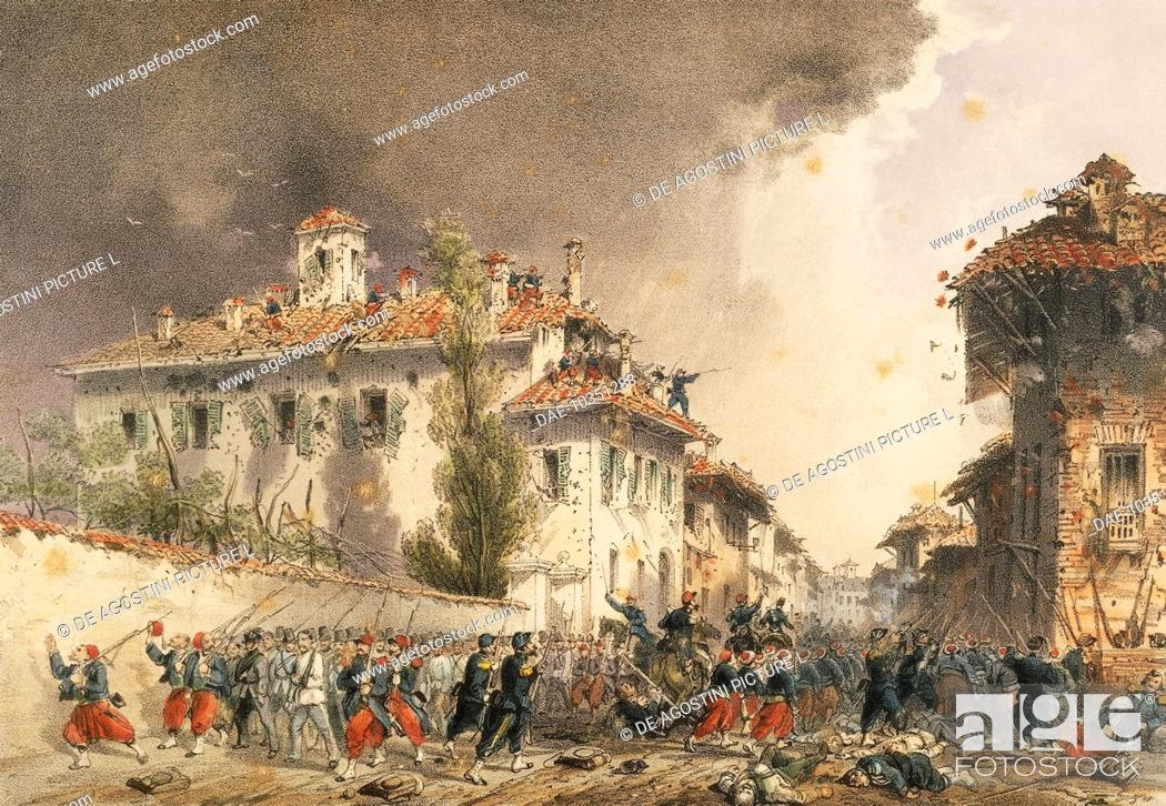 Stock Photo: Battle of Magenta between the Austrian and the Franco-Piedmontese armies, June 4, 1859, engraving. War of Independence, Italy, 19th century.