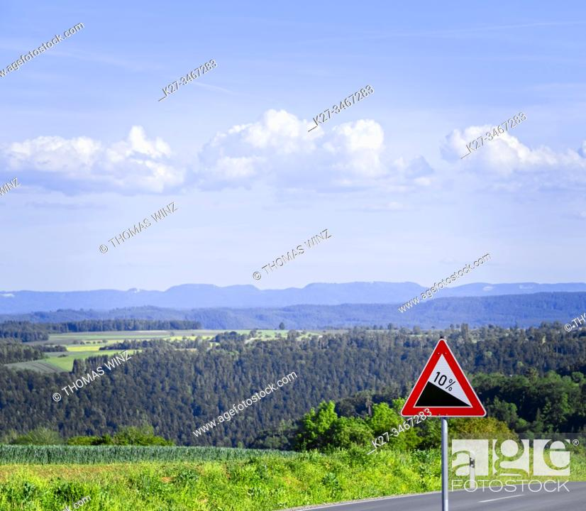 Stock Photo: Warning sign 10 grade ahead, Baden Württemberg, Germany.