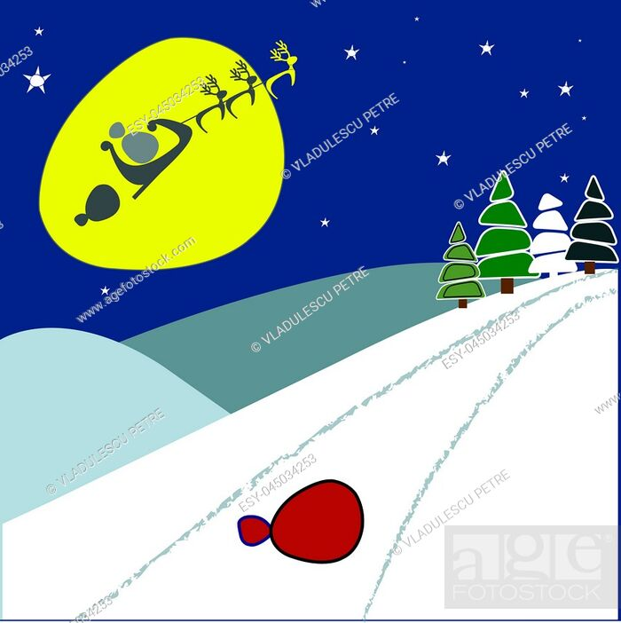 Stock Vector: Santa Claus lost the bag of gifts.