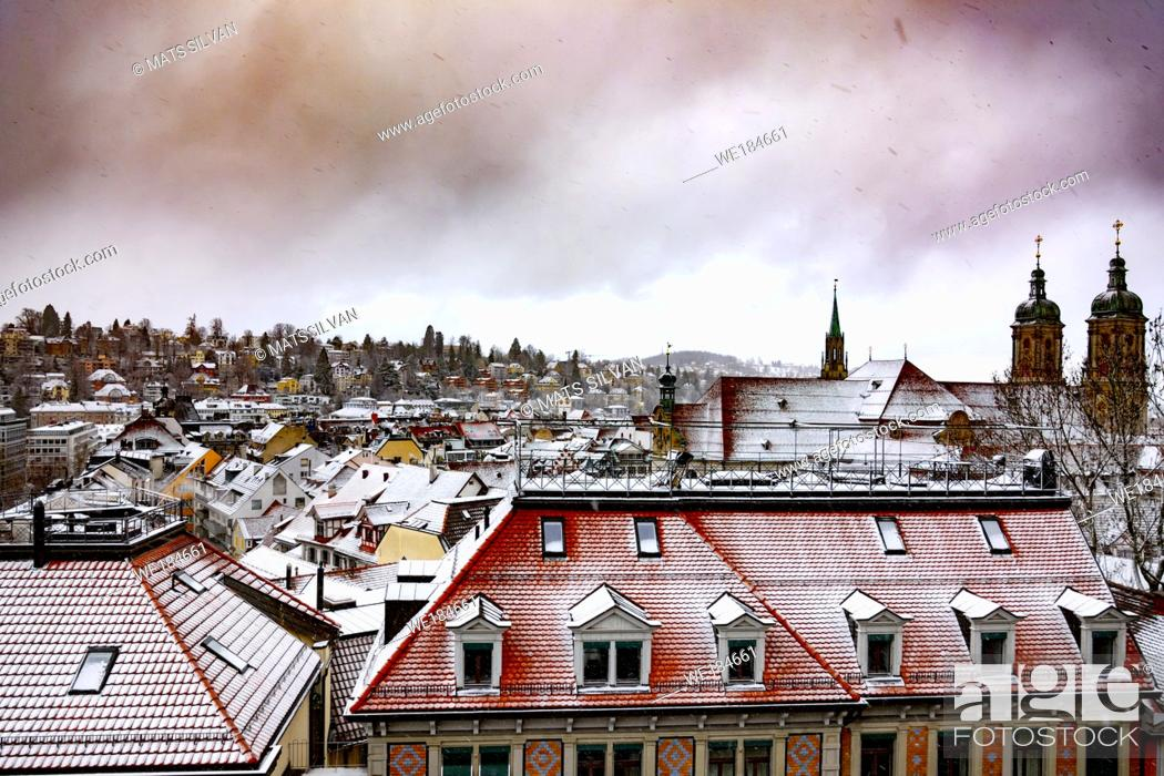 Stock Photo: Cityscape and Abbey of St Gallen in Switzerland.