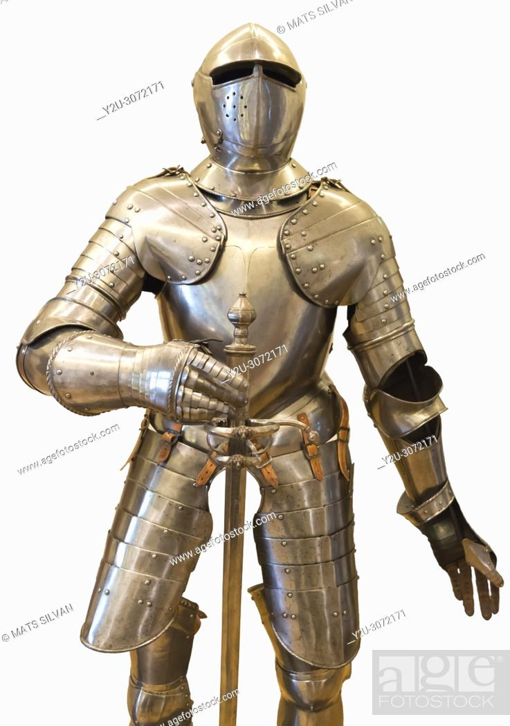 Stock Photo: Suit of Armor on White Background.