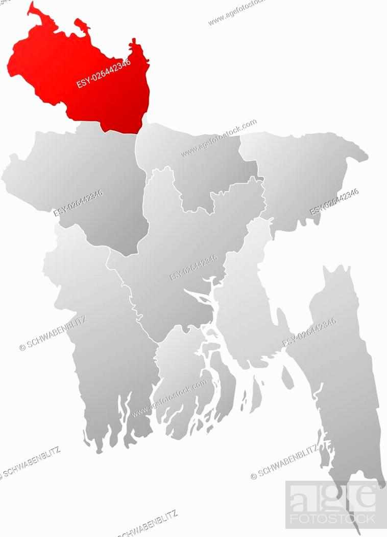 Map Of Bangladesh With The Provinces Filled With A Linear