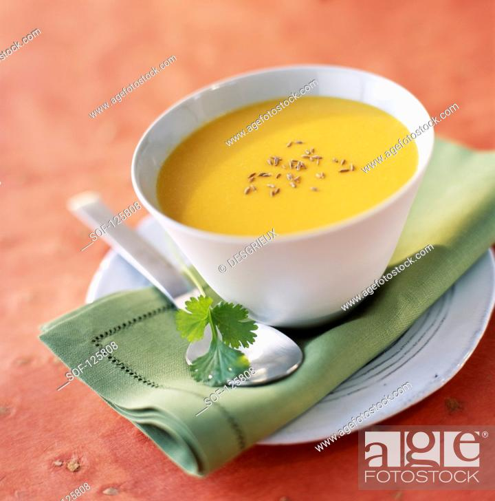 Stock Photo: Oriental-style creamed carrot soup.