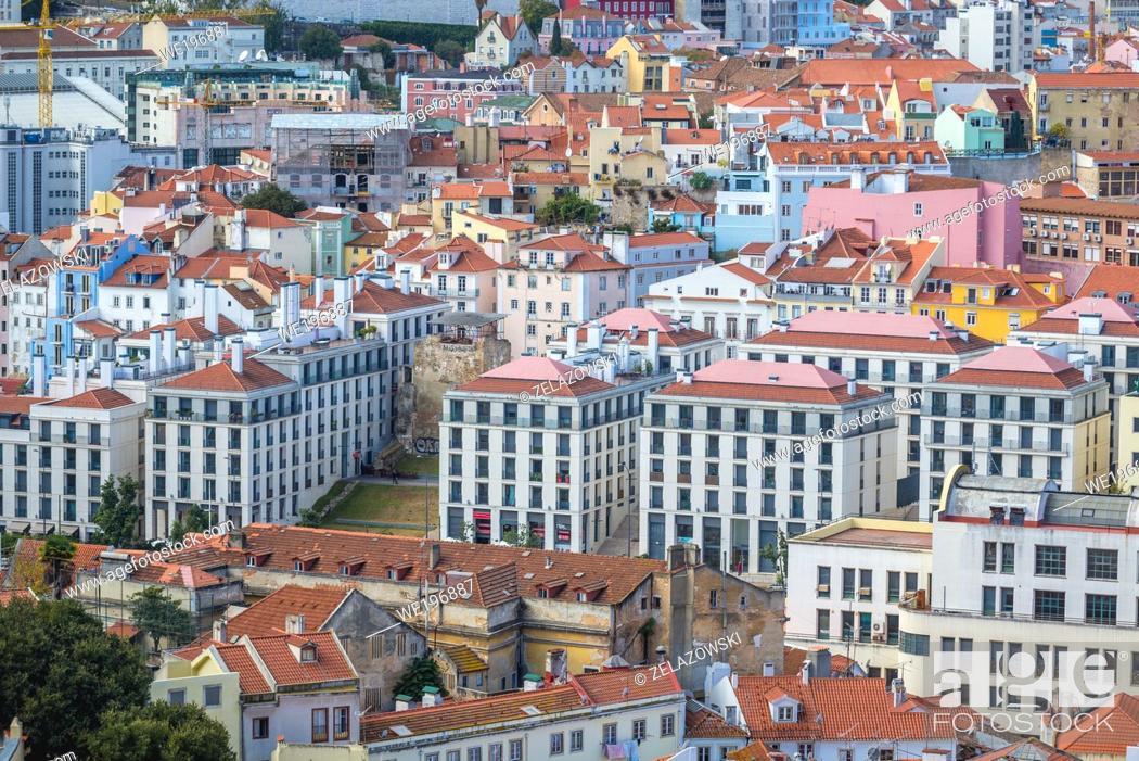 Stock Photo: Aerial view from Miradouro Sophia de Mello Breyner Andresen also known as Miradouro da Graca viewing point in Lisbon, Portugal.