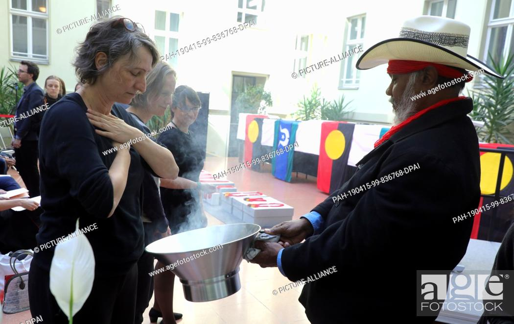 Stock Photo: 15 April 2019, Berlin: Native Australians, Aborigines, and invited guests attend a ceremony at the Australian Embassy to return the remains of indigenous.