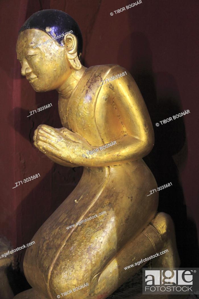Stock Photo: Myanmar, Burma, Bagan, Ananda Temple, interior, statue,.