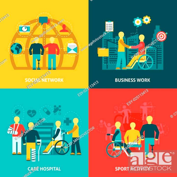 Stock Vector: Disabled Working Flat Color Icons Composition.
