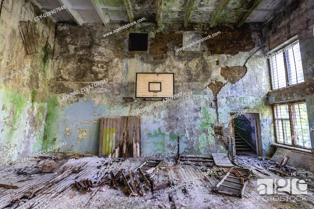 Stock Photo: Gym in abandoned high school of Chernobyl-2 military base, Chernobyl Nuclear Power Plant Zone of Alienation in Ukraine.