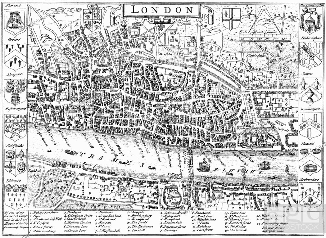London 1600 Map.Historic Drawing Map Of London England United Kingdom Around