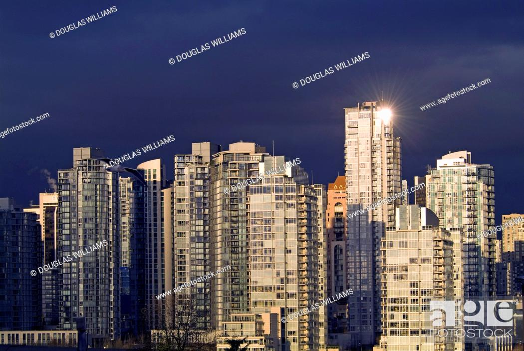 Stock Photo: apartement buildings in downtown Vancouver, BC, Canada.